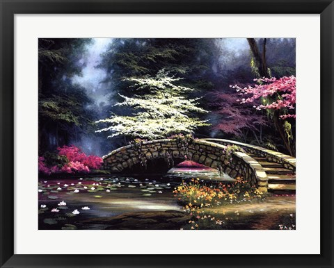Framed Dogwood and Waterlilies Print