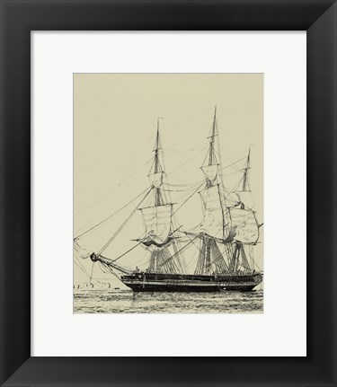 Framed Ships And Sails V Print