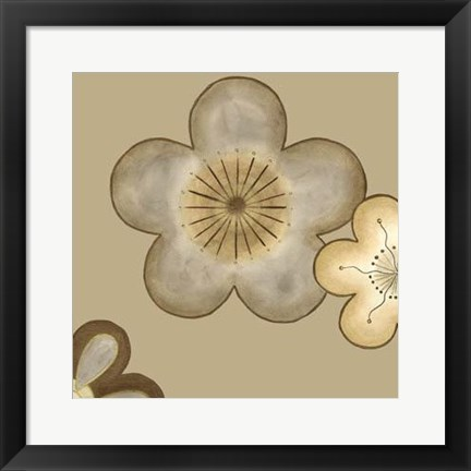 Framed Pop Blossoms In Neutral II Print