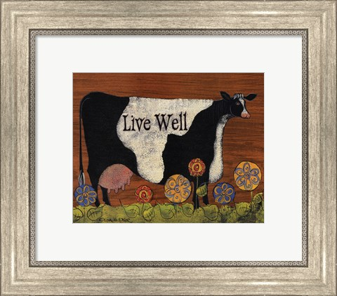 Framed Live Well Cow Print