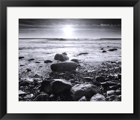 Framed Sun Surf and Rocks Print