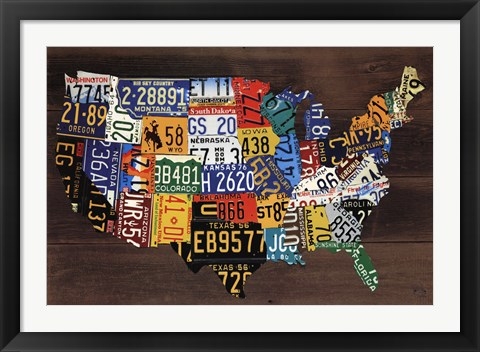 Framed Usa Map II Print