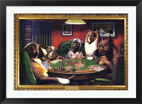 Framed Dogs Playing Poker Print