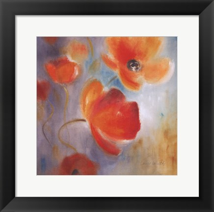 Framed Scarlet Poppies In Bloom I Print