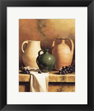 Framed Earthenware with Grapes Print