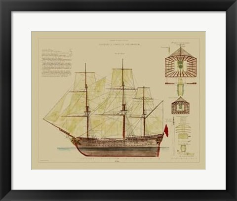 Framed Antique Ship Plan VIII Print