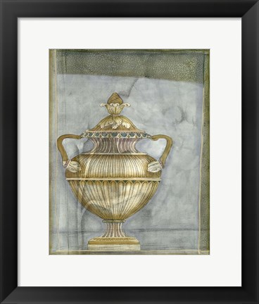 Framed Small Urn And Damask II Print