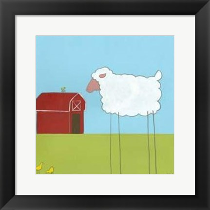 Framed Stick-Leg Sheep II Print