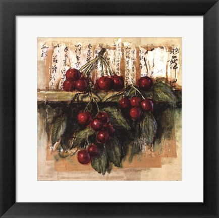 Framed Cerises Sur Calligraphie Chinoise Print