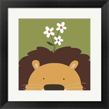 Framed Peek-A-Boo Lion Print