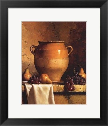 Framed Confit Jar with Pears and Grapes Print