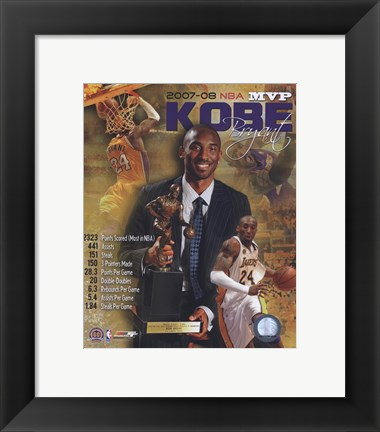 Framed Kobe Bryant 2008 MVP Portrait Plus; LA Lakers Print