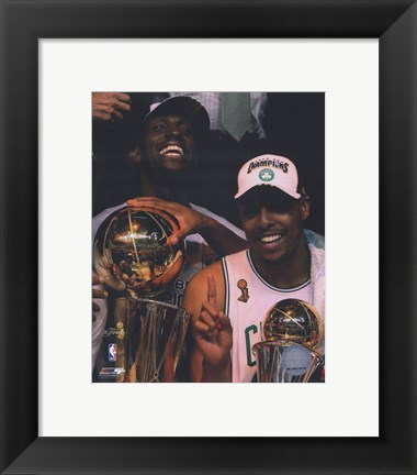 Framed Kevin Garnett & Paul Pierce, Game Six of the 2008 NBA Finals With Trophies; Celebration #31 Print