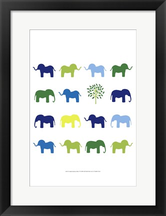 Framed Animal Sudoku in Blue IV Print