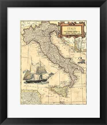Framed Italy Map Print