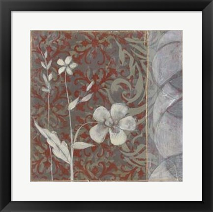 Framed Taupe and Cinnabar Tapestry I Print