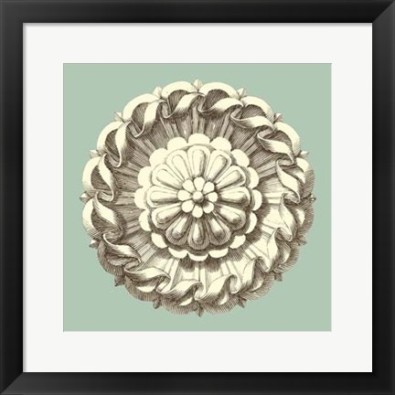 Framed Celadon and Mocha Rosette IV Print