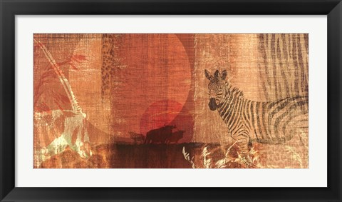 Framed Safari Sunset I Print