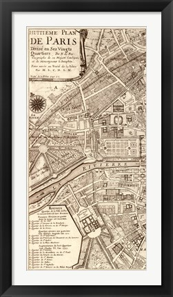 Framed Plan de la Ville de Paris, 1715 (L) Print