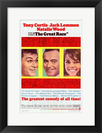Framed Great Race movie poster Print
