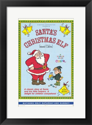 Framed Santa's Christmas Elf (Named Calvin) Print