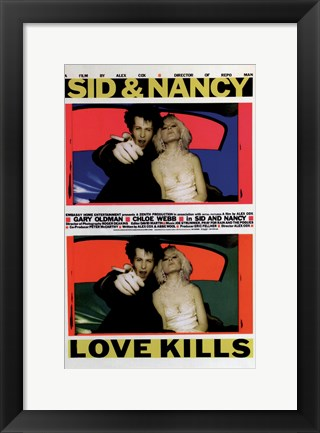 Framed Sid and Nancy - love kills Print