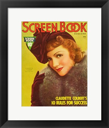 Framed Claudette Colbert Screen Book Cover Print