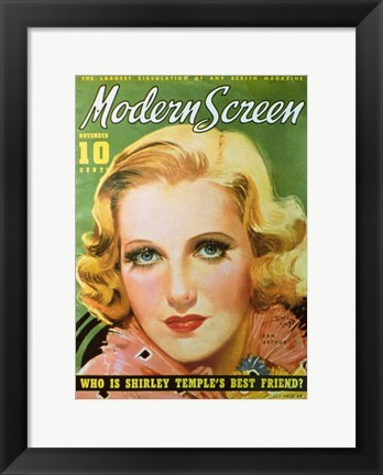 Framed Jean Arthur - Who is Shirley Temple's best friend? Print