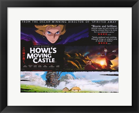 Framed Howl's Moving Castle Collage Horizontal Print