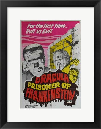 Framed Dracula Prisoner of Frankenstein/Werewolf's Shadow Print