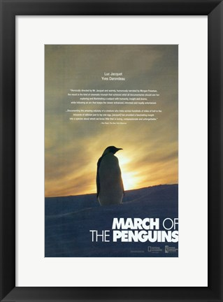 Framed March of the Penguins Silhouette Print