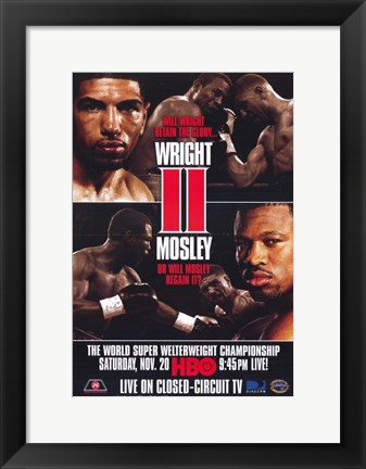 Framed Winky Wright vs Shane Mosley - red Print