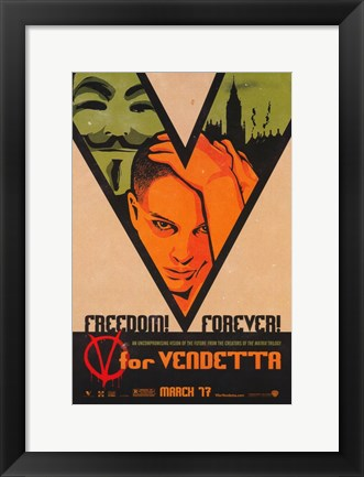 Framed V for Vendetta Freedom! Forever! Print
