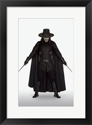 Framed V for Vendetta with Knives Print