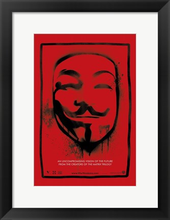Framed V for Vendetta Mask Print
