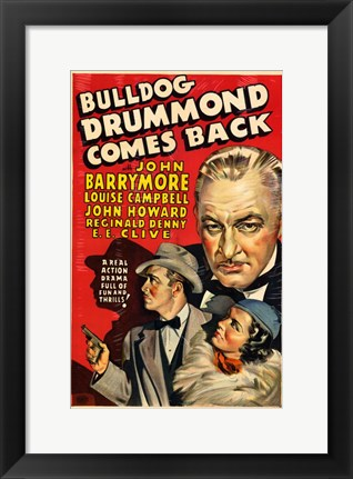 Framed Bulldog Drummond Comes Back Print