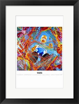 Framed Homer Simpson's Cartoon Colored Creationism Print