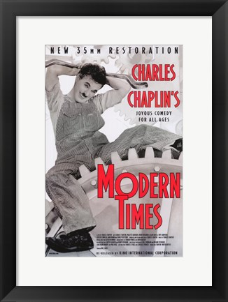 Framed Modern Times Chaplin Sitting on Gears Print