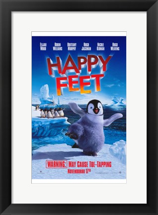 Framed Happy Feet Movie Warning Print