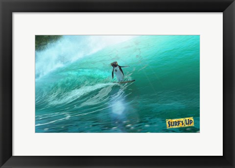 Framed Surf's Up - surfing waves Print