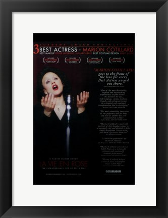 Framed La Vie En Rose - Best Actress Print