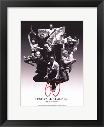 Framed Cannes Film Festival black and white Print