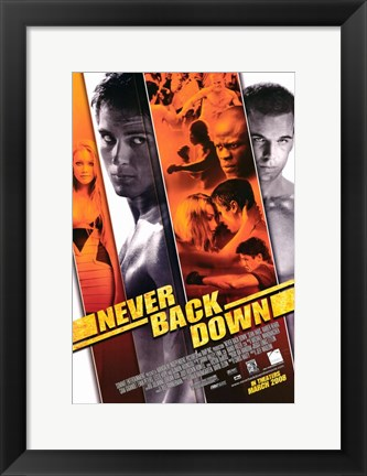 Framed Never Back Down Print