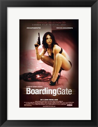 Framed Boarding Gate - woman with a gun Print