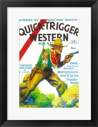 Framed Quick-Trigger Western Magazine (Pulp) Print