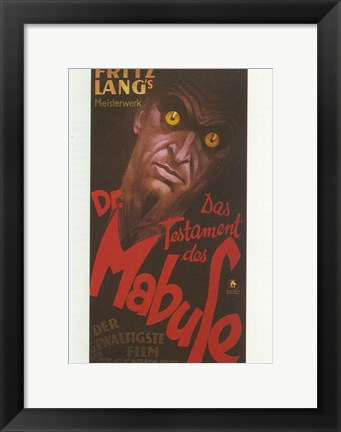 Framed Crimes of Dr. Mabuse Print