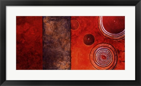 Framed Red Spirals I Print