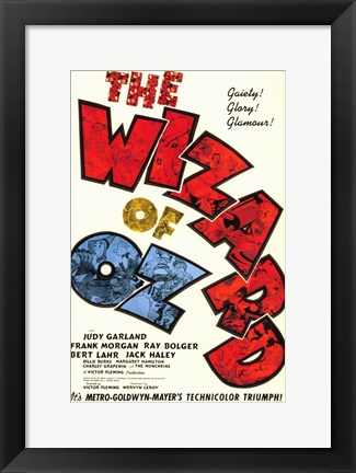 Framed Wizard of Oz Text Print