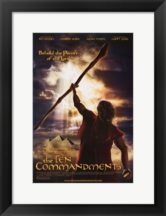 Framed Ten Commandments Behold the Power of the Lord Print