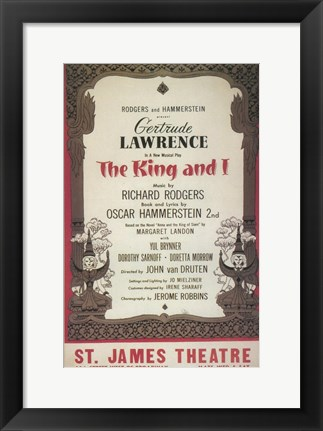 Framed (Broadway) King And I Print